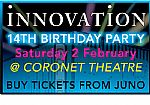 Innovation presents The 14th Birthday & Reunion Of 'In The Dam' Tickets (Saturday 2nd February 2008 @ The New Coronet Theatre 26-28 New Kent Road London SE1 6TJ) (feat Andy C, Shy FX, Hype, Mampi Swift, Phantasy, Brockie, Nicky Blackmarket, DJ Flashback)