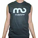 Modelisme Records Sleeveless T-Shirt (asphalt grey with light blue logo)