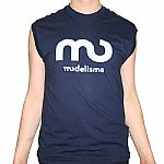 Modelisme Records Sleeveless T-Shirt (navy with light blue logo)