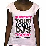 Support Your Local DJ T Shirt (pink with multicoloured logo)