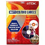 TDK Matte CD/DVD Labels (contains 40 matte photo quality disc labels, plus 80 spine & 80 centre/core labels, recommended for use with TDK CD/DVD labelling kit & other labelling kits, for inkjet & laser printers)