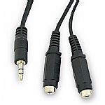 3.5mm (mini jack) Stereo Splitter Cable (1.8 metres) (male to pair of female 3.5mm (mini-jack) stereo cable) (black)