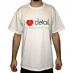I Love Detail T-shirt (white with black & red design)