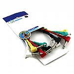 Unbalanced Patch Cables (pack of 6 coloured cables, 0.30m long, 90 degree jack plugs)
