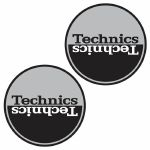 Technics Moon 1 Slipmats (pair, silver & black)