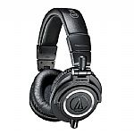 Audio Technica ATH M50X Headphones (black, includes interchangeable straight & coiled cables)