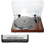 Lenco L90 USB Turntable (walnut) With Audacity Audio Production Software + FREE Antistatic Carbon Fibre Vinyl Record Cleaning Brush