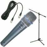 Shure Beta 57A Dynamic Microphone Bundle: With Microphone Stand & 3m XLR Cable
