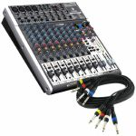 "Behringer Xenyx X1622 USB Mixer With Tracktion Recording Software + 4 Way 1/4"" Jack Wiring Loom (black, 6m) *REDUCED PRICE BUNDLE*"