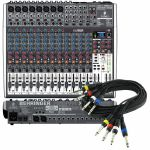 "Behringer Xenyx X2222 USB Mixer With Tracktion Recording Software + 4 Way 1/4"" Jack Wiring Loom (black, 6m) *REDUCED PRICE BUNDLE*"