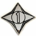 Channel 1 Enamel Pin Badge (silver & black)