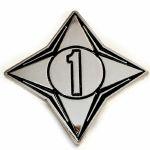 Channel 1 Enamel Pin Badge (silver & black)