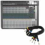 "Soundcraft Signature 22 MTK Analog Mixer With Onboard Effects & Multi Channel USB Audio Interface + FREE 4 Way 1/4"" Mono Jack Wiring Loom (black, 6m)"