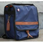 Mukatsuku Bespoke Navy Blue 12 inch Backpack Record Bag (navy blue with vintage leather embossed flap, holds 50 X 12'' records) (Juno Exclusive)