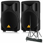 Behringer B210D Eurolive Active 2 Way PA Speakers (pair) + Steel Speaker Stand Kit With Carry Bag (REDUCED PRICE BUNDLE)