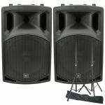QTX QX12A Active PA Speakers (pair, 200W) + Steel Speaker Stand Kit With Carry Bag *REDUCED PRICE BUNDLE*