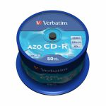 Verbatim 80 Minute 700MB Crystal Super Azo Blank CDR Discs (spindle of 50)
