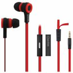 AV Link Rubberised Stereo Earphones With Hands Free Mic (red & black)
