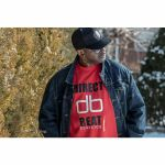 Direct Beat Classics T Shirt (red with black & white print, extra large)