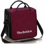 Technics Backpack 12 Inch LP Vinyl Record Bag (wine red with white logo, holds up to 45 records)