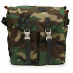 "Tucker & Bloom North To South 12"" Vinyl Messenger Bag With Leather Trim (camo with orange interior)"
