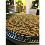 "Mukatsuku Titled Name 12"" Cork Turntable Slipmats With Wooden Laser Etched 45 RPM Vinyl Record Adapters (pair) *Juno Exclusive*"