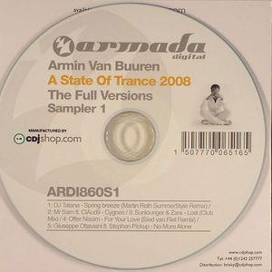 VAN BUUREN, Armin/DJ TATANA/MR SAM/SUNLOUNGER/ZARA/OFFER NISSIM/GIUSEPPE OTTAVIANI - A State Of Trance 2008: The Full Versions Sampler 1