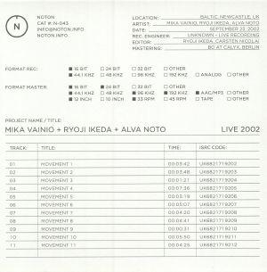 VAINIO, Mika/RYOJI IKEDA/ALVA NOTO - Live 2002