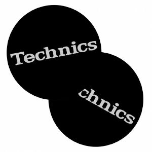 DMC Technics Classic Slipmats (black with white logo, pair)