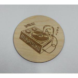 Mukatsuku Wooden Drinks Coaster (Mukatsuku outline logo design, pack of 4) *Juno Exclusive*