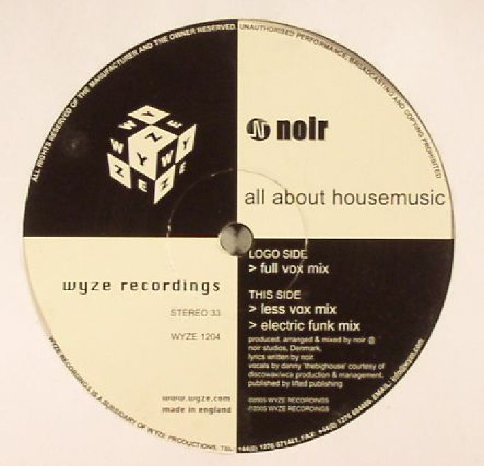 NOIR - All About House Music (warehouse find)