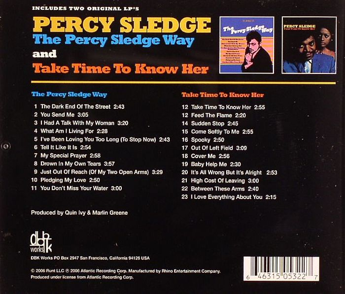 Percy Sledge The Percy Sledge Way Take Time To Know Her 2