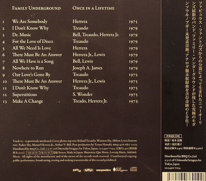 FAMILY UNDERGROUND - Once In A Lifetime (Japan edition)