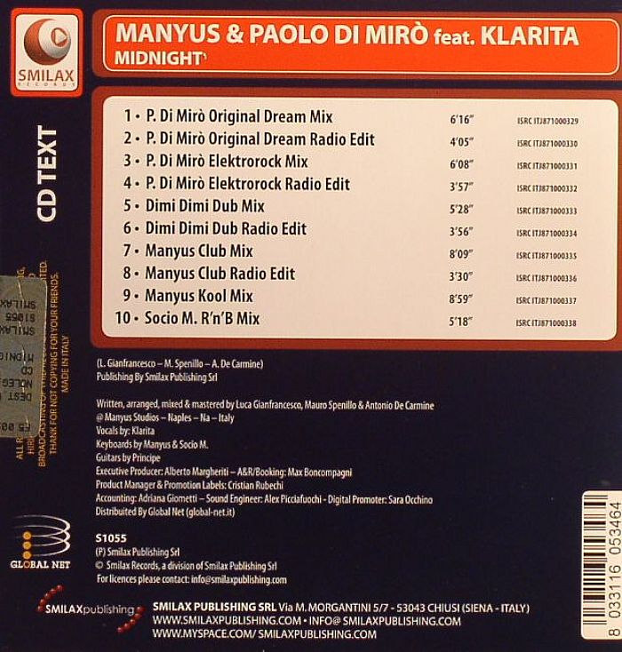 MANYUS/PAOLO DI MIRO feat KLARITA - Midnight