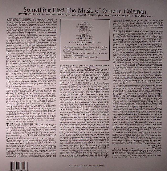 COLEMAN, Ornette - Something Else!!!! The Music Of Ornette Coleman
