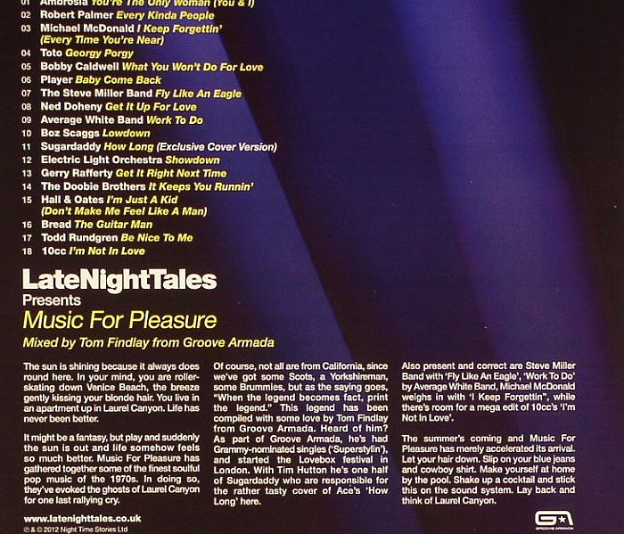 Groove Armada Various Late Night Tales Presents Music For