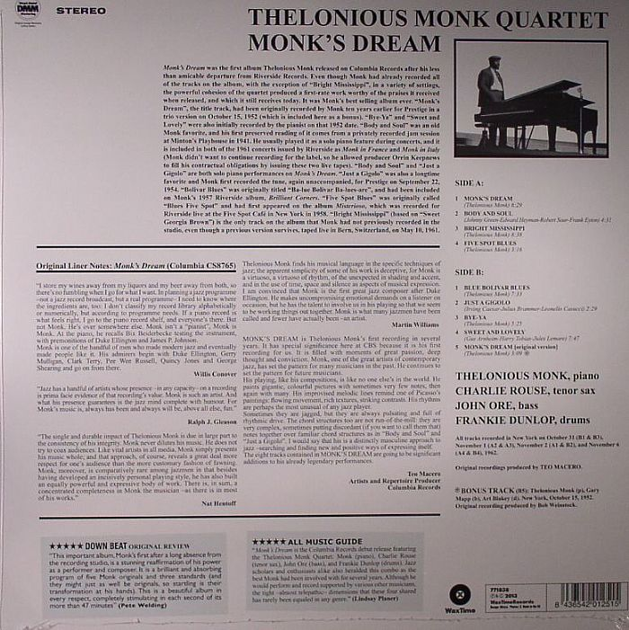 THELONIUS MONK QUARTET, The - Monk's Dream