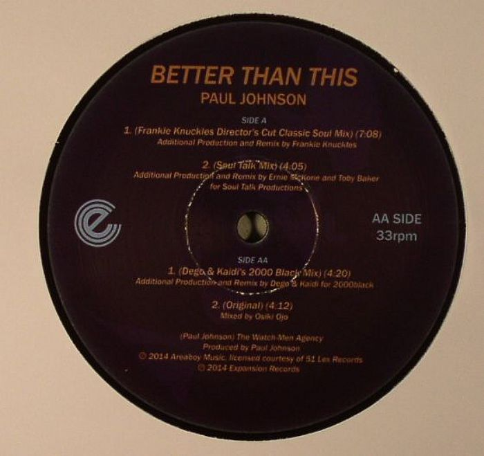 JOHNSON, Paul - Better Than This (mixes) (Record Store Day 2014)