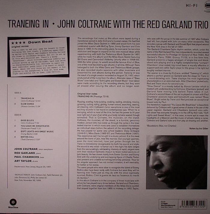 COLTRANE, John/RED GARLAND TRIO - Traneing In