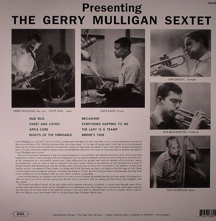 GERRY MULLIGAN SEXTET, The - Presenting The Gerry Mulligan Sextet