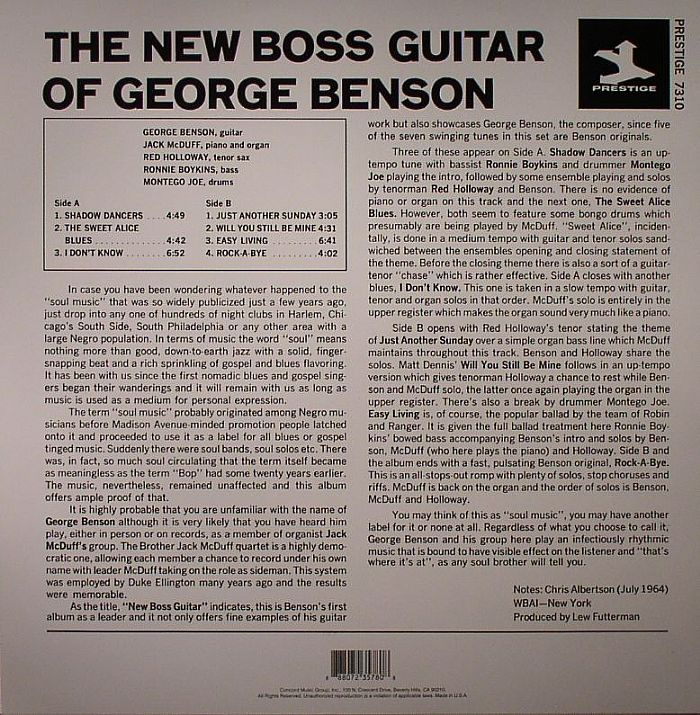 BENSON, George/JACK McDUFF - The New Boss Guitar Of George Benson