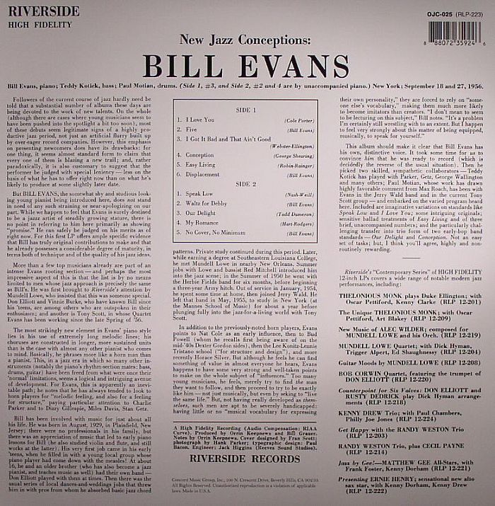 EVANS, Bill - New Jazz Conceptions