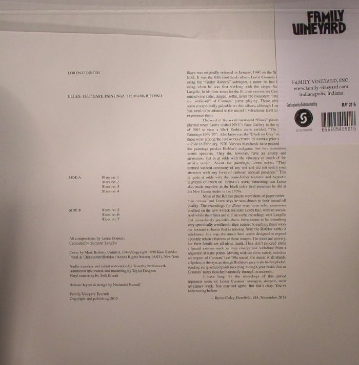 CONNORS, Loren - Blues: The Dark Paintings Of Mark Rothko
