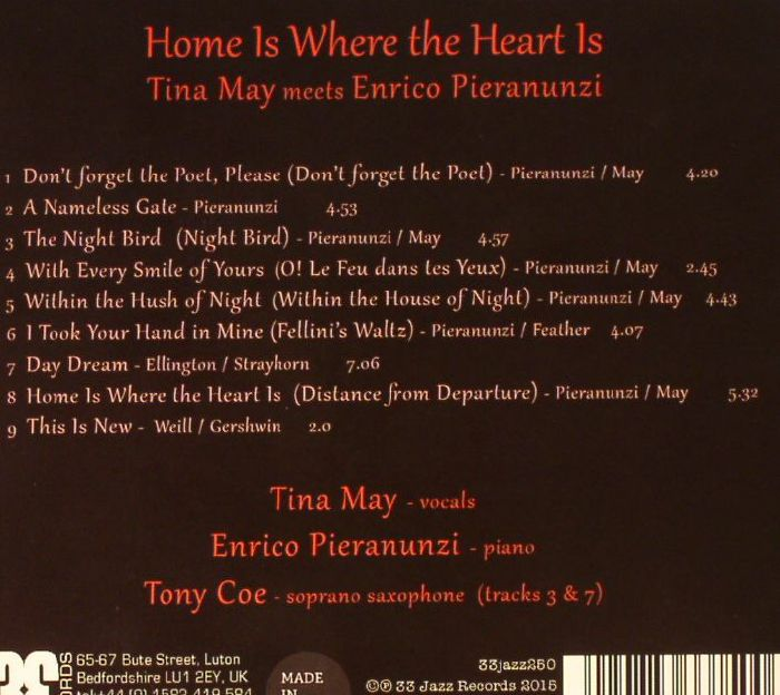 MAY, Tina meets ENRICO PIERANUNZI - Home Is Where The Heart Is