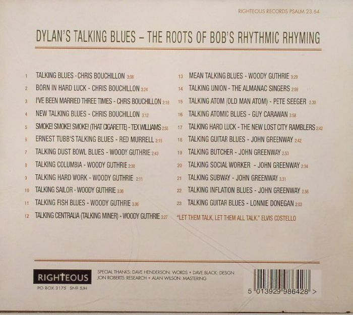 VARIOUS - Dylan's Talking Blues: The Roots Of Bob's Rhythmic Rhyming