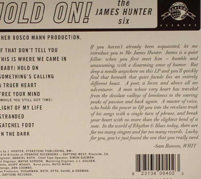 JAMES HUNTER SIX, The - Hold On! (mono)