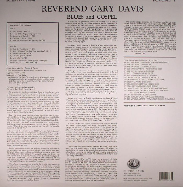 DAVIS, Reverend Gary - New Blues & Gospel