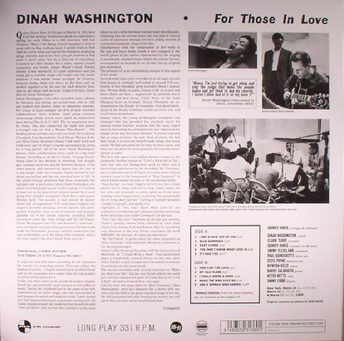WASHINGTON, Dinah - For Those In Love (remastered)