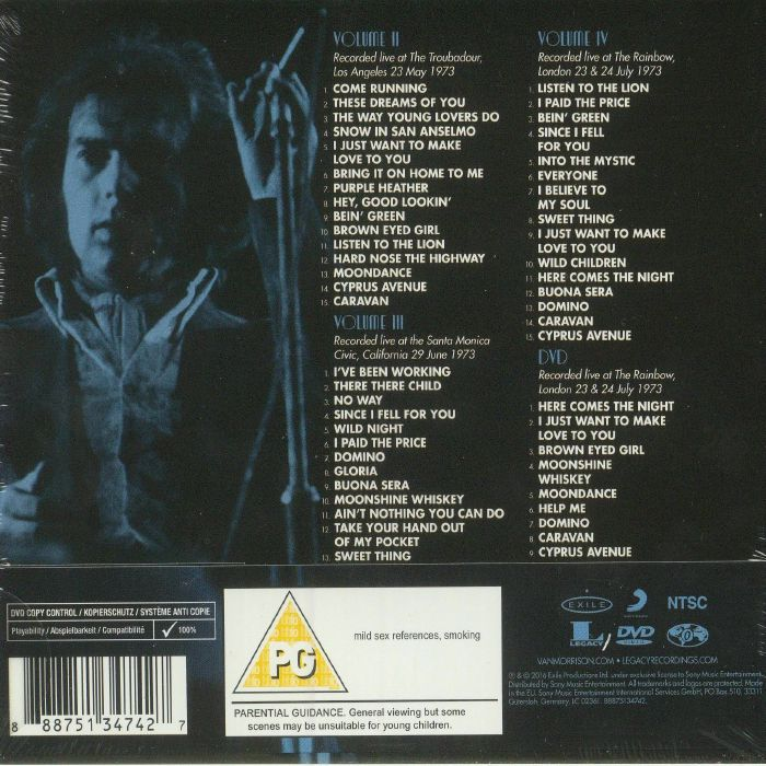 MORRISON, Van - It's Too Late To Stop Now: Volume II III IV & DVD