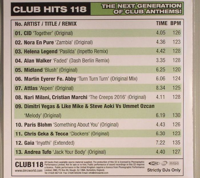 VARIOUS - DMC Monthly Club Hits 118: The Next Generation Of Club Anthems! (Strictly DJ Only)